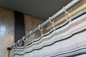 Curtains With Ring Rails Above The Interior, Curtains In The Bathroom poster