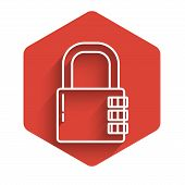 White Line Safe Combination Lock Icon Isolated With Long Shadow. Combination Padlock. Security, Safe poster