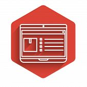 White Line Laptop With App Delivery Tracking Icon Isolated With Long Shadow. Parcel Tracking. Red He poster