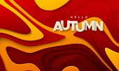 Hello Autumn. Modern Cover Design. Vector Seasonal 3d Illustration. Abstract Background With Red And poster