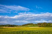 Bavarian spring rural landscape with green field and small village in background, Germany, Europe poster