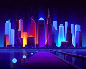 Future Metropolis Seafront With Illuminating Neon Colors Lights Futuristic Skyscrapers Buildings On  poster