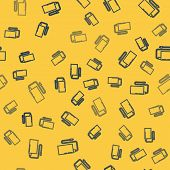 Blue Line Power Bank With Different Charge Cable Icon Isolated Seamless Pattern On Yellow Background poster