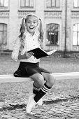 Smart Schoolgirl. Schoolgirl Reading Book. Little Genius. Schoolgirl Relaxing Sit Bench With Book. T poster