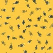 Blue Line Human Target Sport For Shooting Icon Isolated Seamless Pattern On Yellow Background. Clean poster