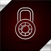 Silver Line Safe Combination Lock Wheel Icon Isolated On Dark Red Background. Combination Padlock. S poster