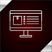 Silver Line Computer Monitor With App Delivery Tracking Icon Isolated On Dark Red Background. Parcel poster