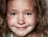 Crying child. Sad little girl portrait closeup