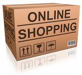 online shopping web shop icon, cardboard box with text webshop order online