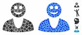 Happy Guy Mosaic Of Round Dots In Different Sizes And Shades, Based On Happy Guy Icon. Vector Round  poster