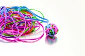 Multi Coloured Elastic Bands And Elastic Band Ball poster