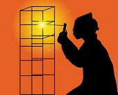 Silhouette Of A Welder
