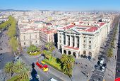 Aerial Barcelona view with Ramblas and Paseo passeig de Colon