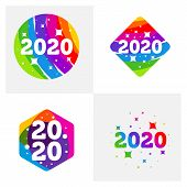 Set Of 2020 New Year Colorful Banner, Logo For Your Seasonal Holidays Flyers, Greetings And Invitati poster