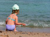 Small Girl On Beach