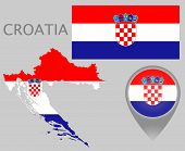Colorful Flag, Map Pointer And Map Of Croatia In The Colors Of The Croatian Flag. High Detail. Vecto poster