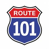 101 Route Sign Icon. Vector Road 101 Highway Interstate American Freeway Us California Route Symbol poster