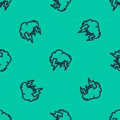 Blue Line Storm Icon Isolated Seamless Pattern On Green Background. Cloud And Lightning Sign. Weathe poster