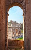 Ruins of the colloseum and forum in Rome, Italy