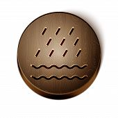 Brown Line Rain And Waves Icon Isolated On White Background. Rain Cloud Precipitation With Rain Drop poster