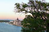 Astonishing Landscape View Of Budapest. The Hungarian Parliament Building In The Embankment Of Danub poster