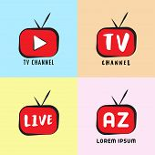 Youtube, Instagram, Live Streaming, Online Television, Web Tv, Simple, Alphabetic, Pictorial, Cartoo poster