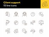 Client Support Line Icon Set. Phone, Chat, Call Center Operator. Online Support Concept. Can Be Used poster
