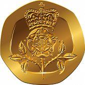 Moneda de oro de dinero británico veinte peniques con la flor de rosa Coronado del vector