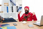 Cant Think About Work. Happy Manager Enjoy Holiday Atmosphere At Work. Bearded Man Celebrate Holiday poster