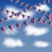 American flag bunting in the sky