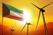 Kuwait Wind Energy, Alternative Energy Environment Concept With Turbines And Flag On Sunset - Altern poster