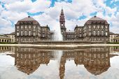 Christiansborg Palace with fountain at summer day in Copenhagen, Denmark.