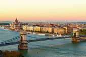 Scenic Sunset Autumn Landscape Of Budapest. Picturesque View Of Chain Bridge Over Danube River And T poster