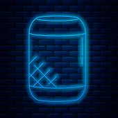 Glowing Neon Line Voice Assistant Icon Isolated On Brick Wall Background. Voice Control User Interfa poster