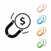 Black Magnet With Money Icon Isolated On White Background. Concept Of Attracting Investments. Big Bu poster