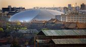 foto of zedong  - Big Silver Egg Concert Hall Close Up Beijing China Forbidden City in Foreground - JPG