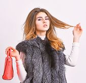 Female Stylish Fashion Model. Fashion Stylish Accessory. Fashion And Shopping Concept. Woman In Fur  poster