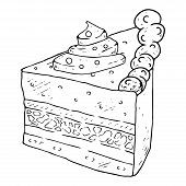 Cake, Piece Of Cake, Icon. Vector Of A Cake, Sweetness. Hand Drawn Cake. poster