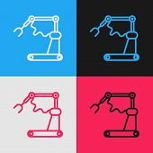 Color Line Industrial Machine Robotic Robot Arm Hand Factory Icon Isolated On Color Background. Indu poster