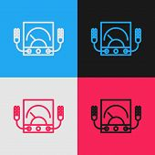 Color Line Ampere Meter, Multimeter, Voltmeter Icon Isolated On Color Background. Instruments For Me poster