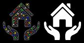 Glossy Mesh House Care Hands Icon With Glitter Effect. Abstract Illuminated Model Of House Care Hand poster
