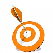 High resolution concept or conceptual orange dart target board with an arrow in  center isolated on