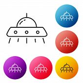 Black Line Ufo Flying Spaceship Icon Isolated On White Background. Flying Saucer. Alien Space Ship.  poster