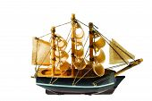 Handmade Model Of Frigate. Beautiful Handmade Model Of Ship Isolated On White Background. poster