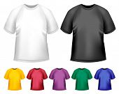 Camisas de polo de hombre blanco y negro y color. Plantilla de diseño. Ilustración de Vector