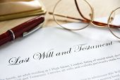 stock photo of funeral  - Last Will and Testament concept image complete with spectacles and pen - JPG
