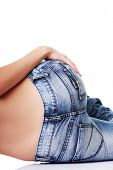stock photo of bare butt  - Fit female butt in jeans - JPG
