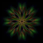 Brillante verde, flor, luces de arco iris en círculos