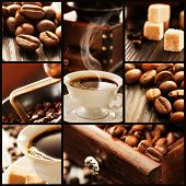 picture of sugar cube  - Collage of coffee details - JPG