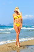 picture of bimbo  - Beautiful young blonde fit woman in bikini on the beach - JPG